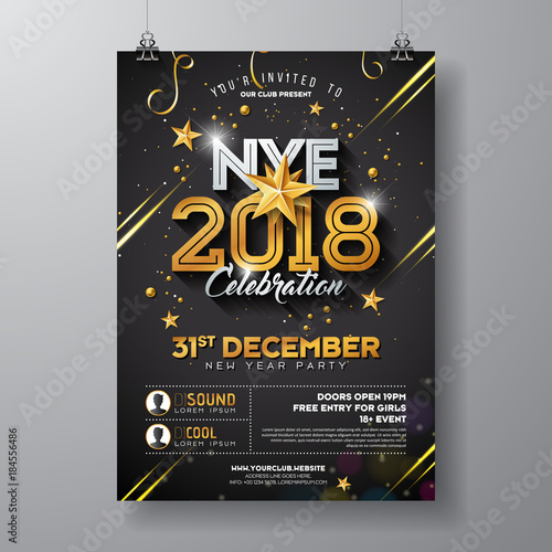 2018 new year party celebration poster template illustration with