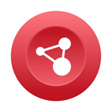 Runder 3D Button - Netzwerk - 184560667