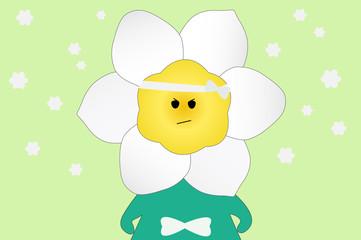 Daffodil flower cartoon on green background