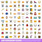 100 kingdom icons set, cartoon style  - 184566605