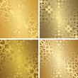 Set of four template of seamless golden patterns. Vintage and luxury design - 184569812