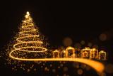 Christmas card with christmas tree and presents - 184577037