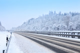 Highway during a snowfall in winter,  Bavaria,  Germany. - 184580841
