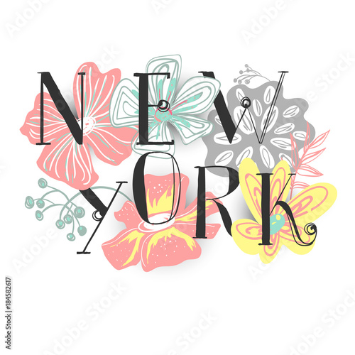 Beautiful New York typography, hand drawn (freehand) illustration. Paper cutout doodle flowers with shadow - 184582617