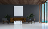 The modern living room interiors design and dark grey wall background / 3d rendering new model  - 184601264