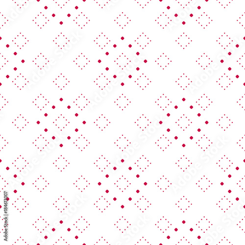 Subtle red and white minimalist dotted seamless pattern, modern vector texture - 184613007