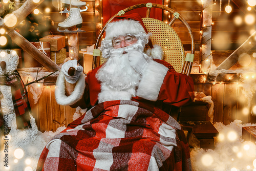 smoking a pipe Santa Poster