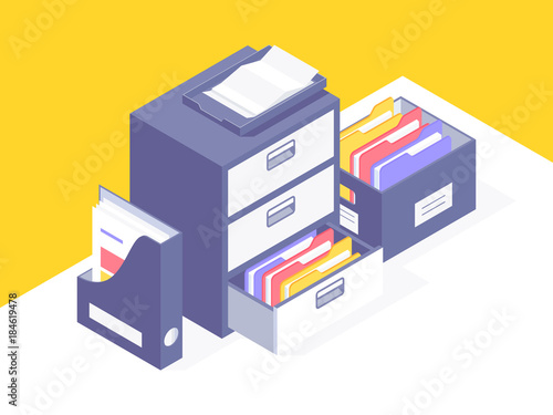 Office paper document and file folders. Isometric projection. Vector illustration © mchlskhrv