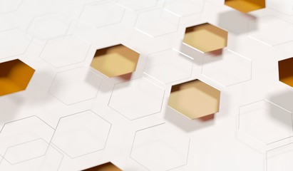 3D Rendering Of Abstract Hexagon Net Background Closeup With Soft Focus