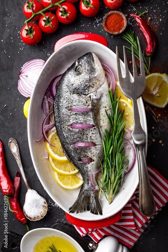 Fresh raw dorado fish on black background, top view - 184622699