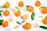 Ripe Orange Tangerine (Mandarin) With Leaves Close-up On The White Background.