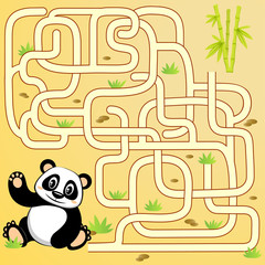 Help panda bear find path to bamboo. Labyrinth. Maze game for kids