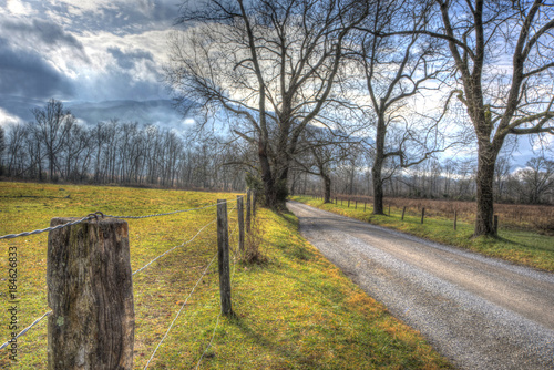 A long lonely road at dawn in Cades Cove. Poster