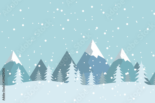Fotobehang Lichtblauw Seamless flat winter vector landscape with silhouettes of trees and mountains.