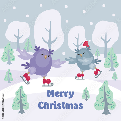 Staande foto Uilen cartoon Christmas greeting card with the image of funny owls. Full color vector illustration.