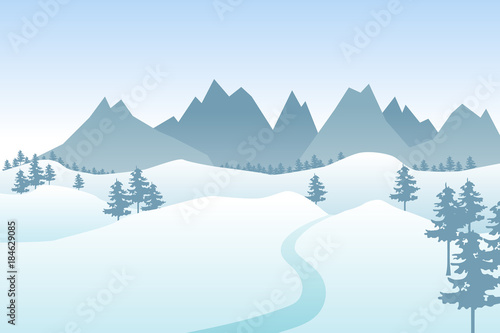 Deurstickers Lichtblauw Flat winter vector landscape with silhouettes of trees, hills and mountains.