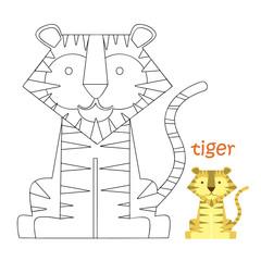 Kids coloring page - tiger