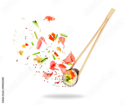 Tuinposter Sushi bar Piece of sushi sandwiched between chopsticks, isolated on white background