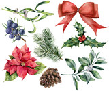 Watercolor Christmas decor set with plant. Hand painted red ribbon, poinsettia, holly, mistletoe, pine cone, juniper and snowberry isolated on white background. Holiday plant for design. - 184634216
