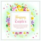 happy easter square border text - 184639047