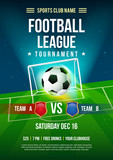 Football league tournament poster vector illustration, Ball with football pitch background. - 184649845