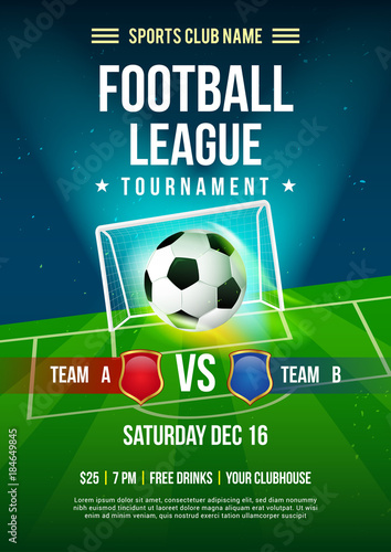 Football league tournament poster vector illustration, Ball with football pitch background.
