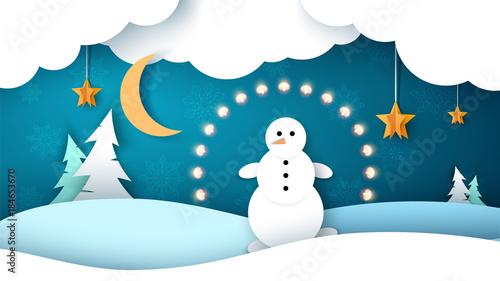 Staande foto Wit Winter landscape. Snowman, fir, star, moon.