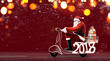 Santa Claus on scooter delivering Christmas or New Year gifts at snowy red background