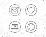 Globe internet, Download and Check icons. - 184663012