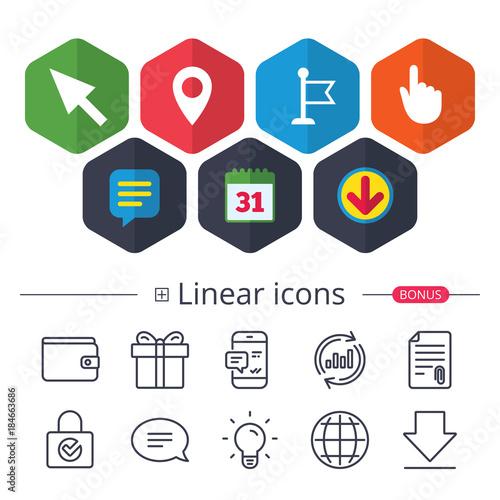 Mouse Cursor Icon Hand Or Flag Pointer Symbols Buy Photos Ap
