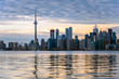 Winter Sunset over Downtown Toronto and Reflection in Calm Waters