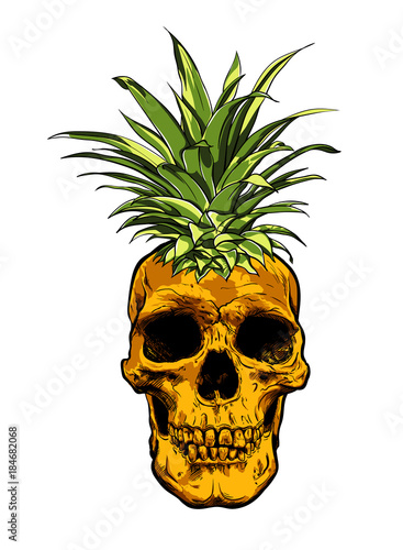 Hand Drawn skull fruit pineapple illustration vector. - 184682068