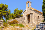 Small hilltop chapel above the old town - Hvar, Croatia - 184683438