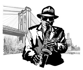 Saxophonist at Brooklyn Bridge © Isaxar