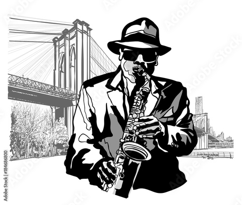 Saxophonist at Brooklyn Bridge