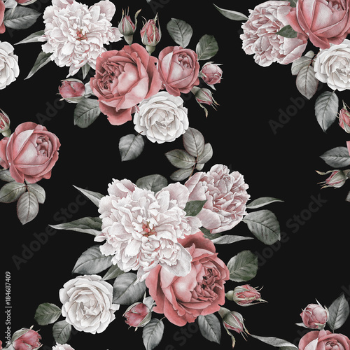 Floral seamless pattern with watercolor red roses and peonies - 184687409
