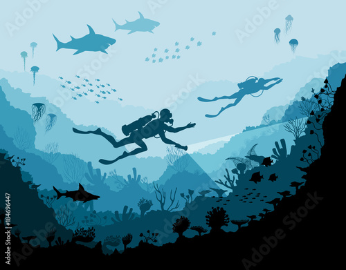 Fototapeta Diver explorers and reef Underwater wildlife