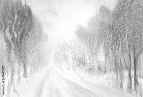 winter road watercolor landscape - 184696812