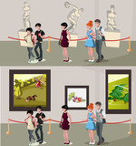 People in museum and gallery - 184698411