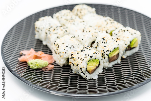 Tuinposter Sushi bar Japanese food Sushi Roll Maki of Salmon and avocado