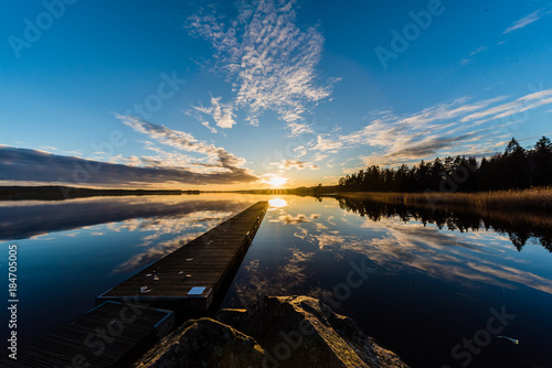 Canvas Pier Sunset over a lake in Nykroppa, Filipstad, Sweden with a jetty