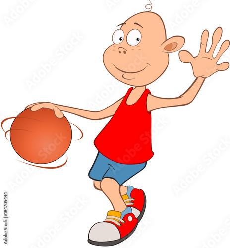 Foto op Canvas Babykamer Illustration of Cute Little Boy. Basketball player