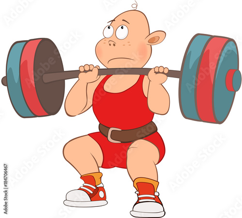 Foto op Canvas Babykamer Illustration of Cute Boy. Weightlifting