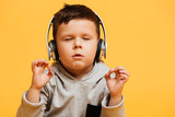 Concentrated boy child sitting on floor listening music - 184707806