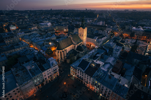 Plexiglas Zwart Lviv city lights panorama