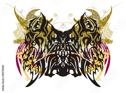 Deurstickers Vlinders in Grunge Grunge butterfly splashes with dragon heads. Tribal wings of a butterfly with color elements