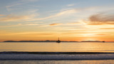 Beach sunset landscape with Catalina Island in the background - 184710605