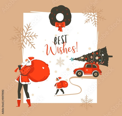 Fotobehang Auto Hand drawn vector abstract Merry Christmas and Happy New Year time vintage cartoon illustrations greeting card template with Santa Claus family people walkin and red car isolated on white background
