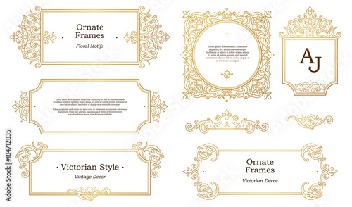 Vector set with golden frames, vignettes in Victorian style.