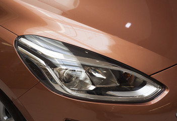 new car headlights in detail